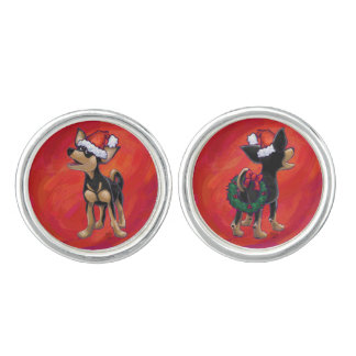 Chihuahua Christmas On Red Cuff Links