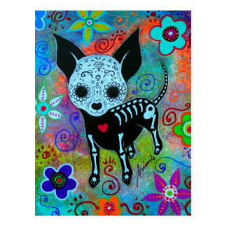 CHIHUAHUA DAY OF THE DEAD PERRO POSTCARD