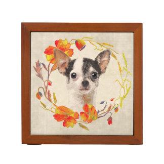 Chihuahua Dog Autumn Wreath Desk Organiser