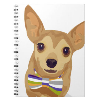 Chihuahua in a bowtie on white background notebook
