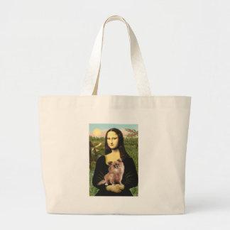 Chihuahua (LgHair-1) - Mona Lisa Large Tote Bag