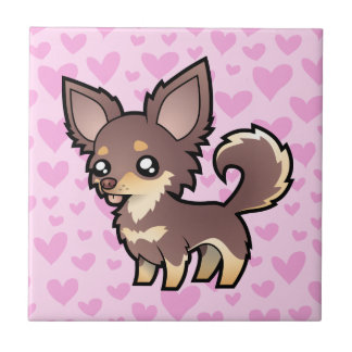 Chihuahua Love (long coat) Small Square Tile