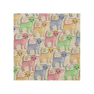 Chihuahua Lover Colorful Pattern Wood Wall Decor