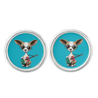Chihuahua Puppy Dog Playing Mexican Flag Guitar Cuff Links