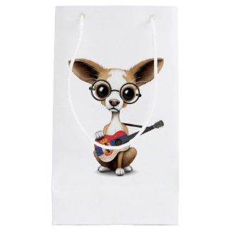 Chihuahua Puppy Dog Playing Serbian Flag Guitar Small Gift Bag