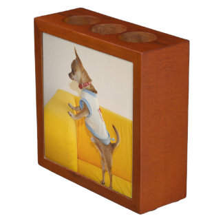 Chihuahua Puppy On Yellow Sofa Desk Organiser
