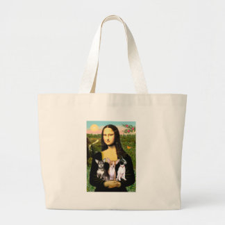 Chihuahua Trio - Mona Lisa Large Tote Bag