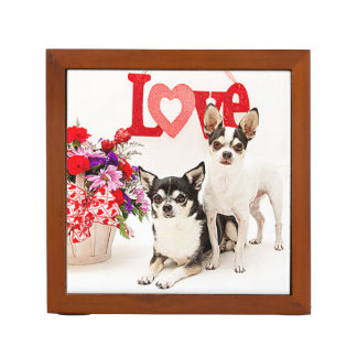 Chihuahua's, Flowers and Love Desk Organiser