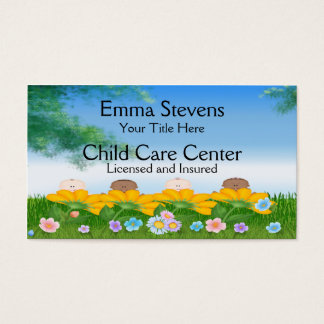 Child Care Baby Flowers Business Card Template