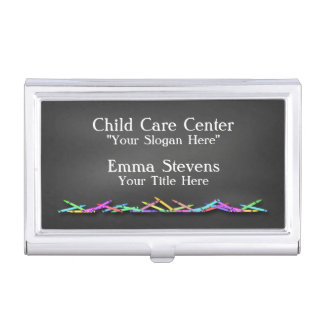 Child Care Chalkboard Crayons Business Card Holder