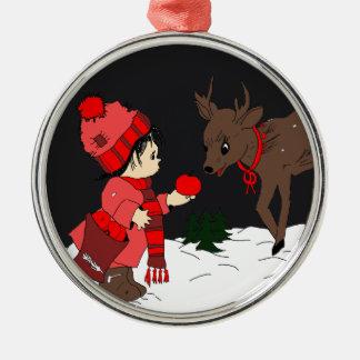 Child Feeding Reindeer Christmas Ornament