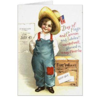 Child US Flag Box Fireworks 4th of July Card