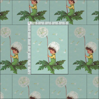 Child with Dandelion Flower Vintage Print Fabric