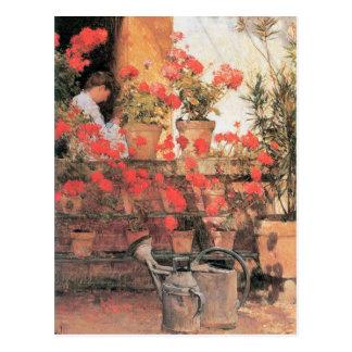 Childe Hassam - Red Geraniums Postcard