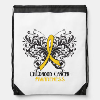 Childhood Cancer Awareness Butterfly Drawstring Backpacks
