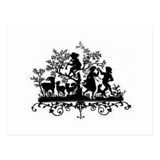 Children and Animals Silhouette Postcard