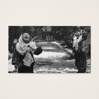 children and snow business card