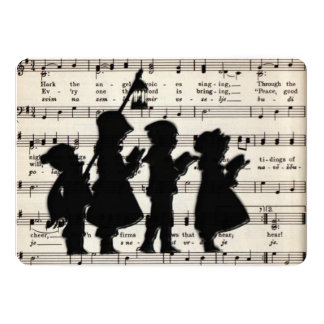 Children Carolers With Ancient Christmas Music Card