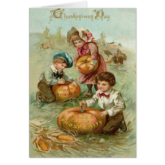 Children Carving Pumpkins Corn Haystack Greeting Card