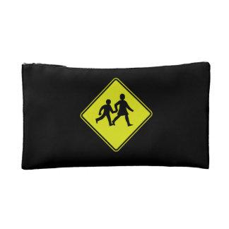 Children Crossing, Traffic Sign, New Zealand Makeup Bag