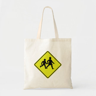 Children Crossing, Traffic Sign, New Zealand Budget Tote Bag