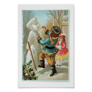 Children putting pipe in snowman's mouth,Christmas Posters