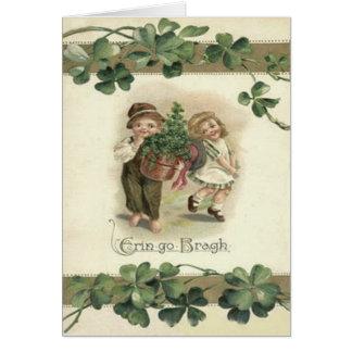 Children Shamrock Erin Go Bragh Greeting Card