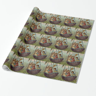 Children Swing Forget Me Not Flower Tree Wrapping Paper