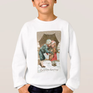 Children with an umbrella in the snow on Christmas Sweatshirt