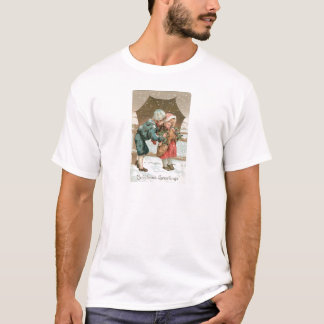 Children with an umbrella in the snow on Christmas T-Shirt
