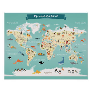 Children World Map with Illustrations Poster