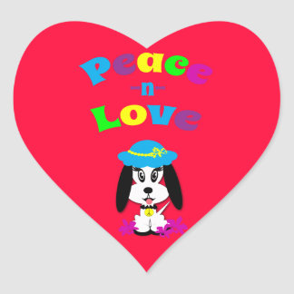 Childrens Peace and Love Kute Dog Heart Stickers