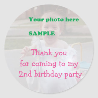Child's 2nd Birthday Party Thank you Round Sticker