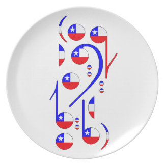 Chile Flag Musical Notes Plate