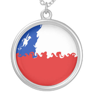 Chile Gnarly Flag Round Pendant Necklace