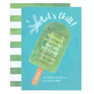 Chill Green Popsicle Cool Summer Birthday Party Card