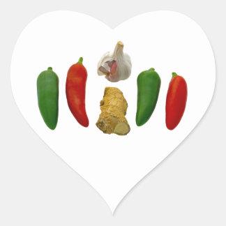 Chillies Garlic and Ginger Heart Sticker