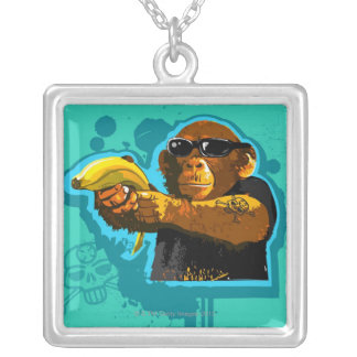 Chimpanzee Holding a Banana Silver Plated Necklace
