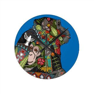 chimpanzee love blue round clock