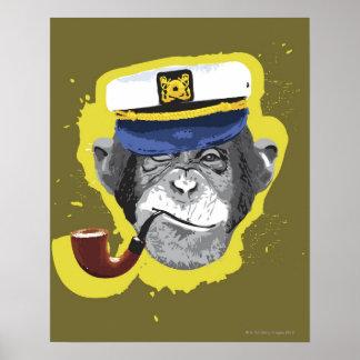 Chimpanzee Smoking Pipe Print