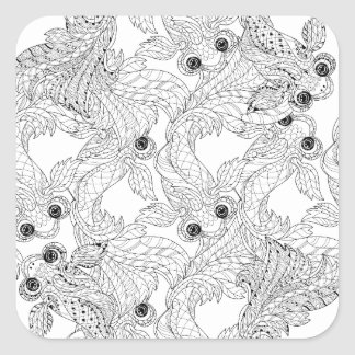 China Fish Doodle Square Sticker