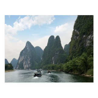 China, Guilin, Li River, River boats line the Postcard