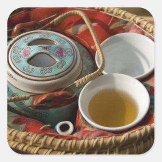 China, Hong Kong. Traditional Chinese teapot & 3 Square Sticker