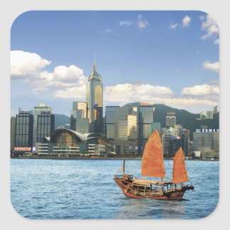 China; Hong Kong; Victoria Harbour; Harbor; A Square Sticker