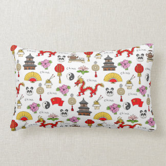 China Symbols Pattern Lumbar Cushion