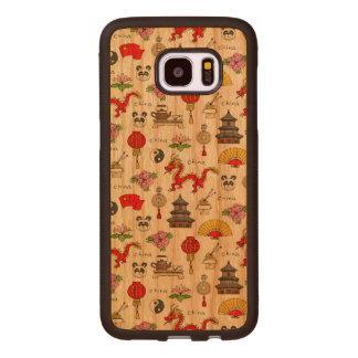 China Symbols Pattern Wood Samsung Galaxy S7 Edge Case
