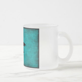 Chinese Character Painting for Warrior in Blue Frosted Glass Coffee Mug
