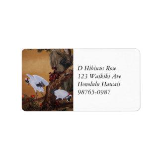 Chinese Cranes Under Pine Tree Address Label