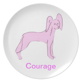 Chinese Crested Courage Cancer Awareness Plate