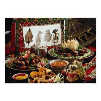 Chinese festive dinner plates invite